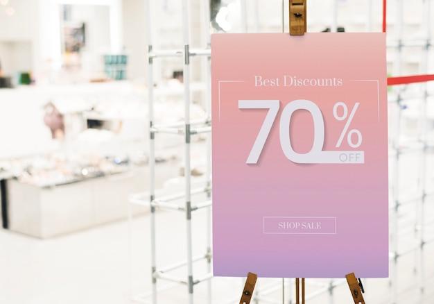 Koop maximaal 70% korting op de poster-mockup
