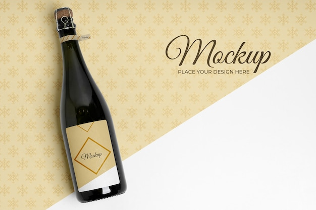 Kopieer ruimte champagnefles mock-up