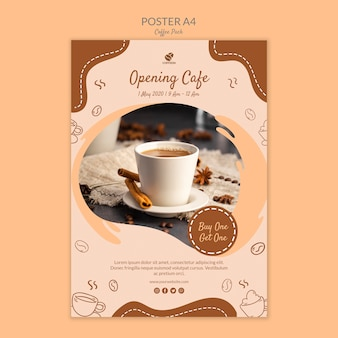 Kopje koffie poster print sjabloon