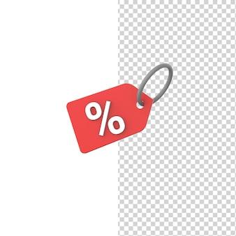 Korting pictogram geïsoleerde witte achtergrond 3d render teken model