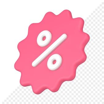 Kortingslabel 3d-pictogram