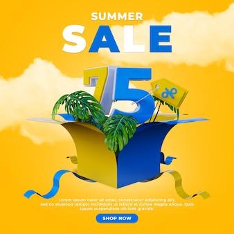 Kortingspromotie speciale zomerverkoop sociale media post vierkante sjabloon
