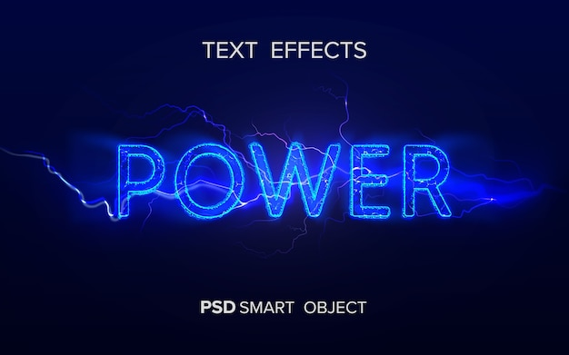Krachtig teksteffect slim object Premium Psd