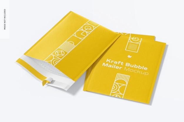 Kraft bubble mailers mockup, geopend en gesloten