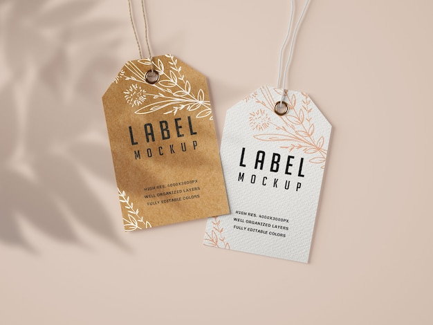 Kraft en papieren label mockup set