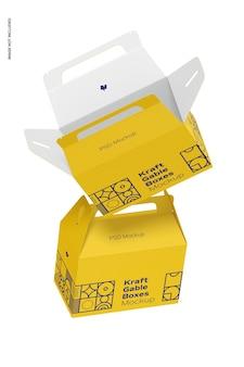 Kraft gable boxes mockup, falling