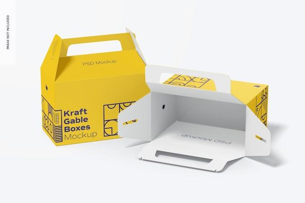 Kraft gable boxes mockup, geopend en gesloten