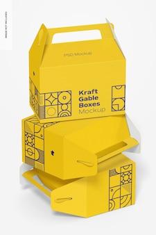 Kraft gable boxes set mockup
