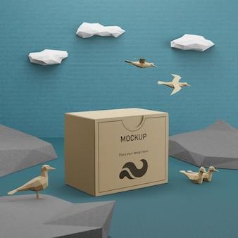 Kraft papieren zak met vogels concept voor oceaan dag