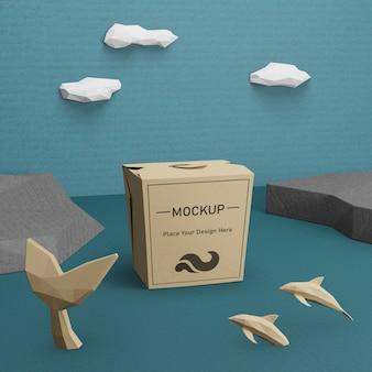 Kraft papieren zak voor oceaan dag met mock-up