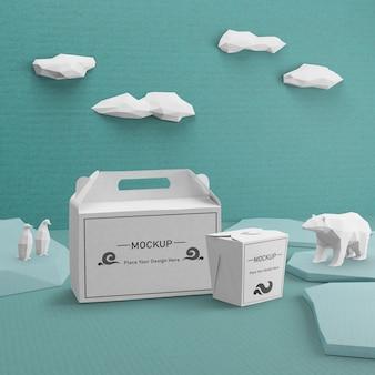 Kraft papieren zakken voor ocean day cocept