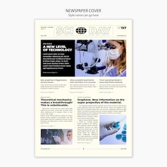 Krant wetenschappelijke artikel voorbladsjabloon