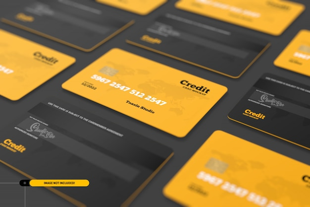 Kredietkaarten. cadeaubonnen mockup