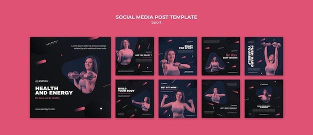 Krijg een fit concept social media postsjabloon