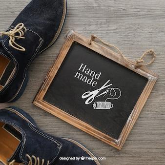 Krijtbord en schoenen