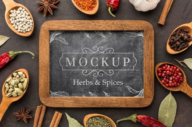 Kruiden en specerijen mock-up boven weergave
