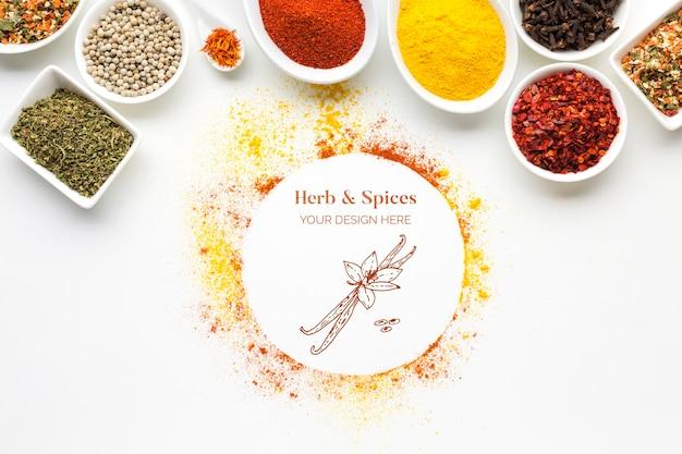 Kruiden en specerijen mock-up met kommen bovenaanzicht
