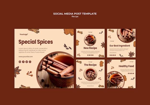Kruiden en specerijen sociale media post-sjabloon