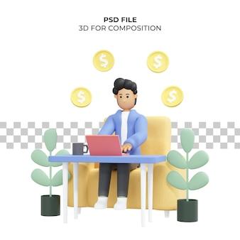 Krullendharige man aan het werk zittend op een stoel met behulp van laptop freelancer dollar 3d illustratie premium