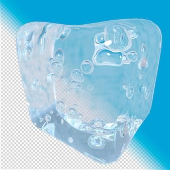 Kubus gemaakt van ijs 3d-rendering