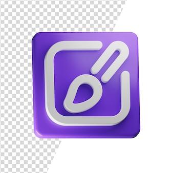 Kunst 3d pictogram rendering geïsoleerd concept Premium Psd