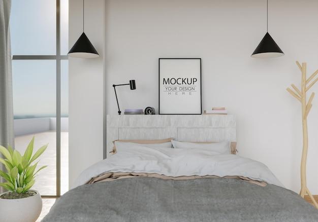 Kunst aan de muur canvas of fotolijst mockup interieur in een slaapkamer
