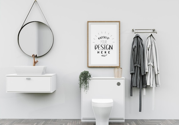 Kunst aan de muur of canvas frame in badkamer mockup