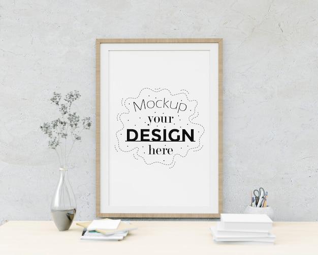 Kunst aan de muur of canvas frame mockup boven tafel