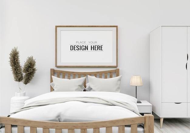Kunst aan de muur of canvas frame mockup interieur in een slaapkamer