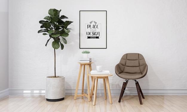 Kunst aan de muur of fotolijst in woonkamer mockup