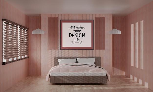 Kunst aan de muur of fotolijst mockup interieur in een slaapkamer