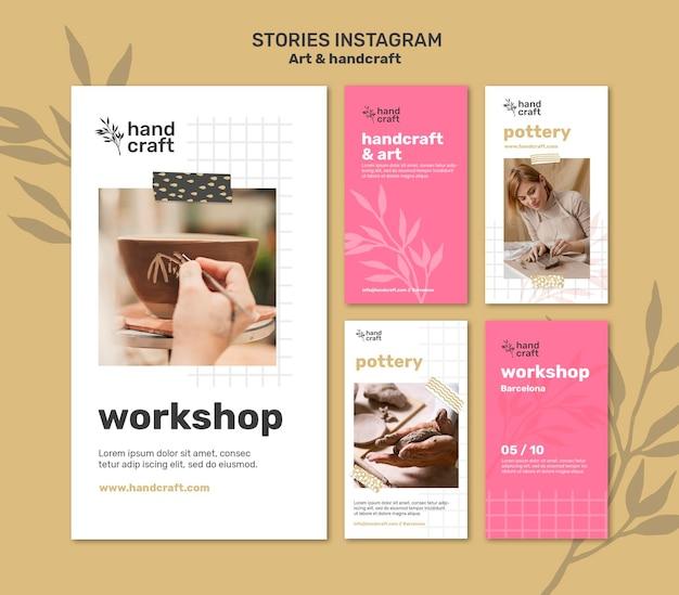 Kunst en handgemaakte verhalen op sociale media Premium Psd