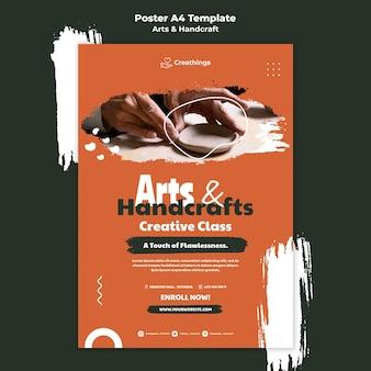 Kunst en handwerk poster sjabloon Gratis Psd