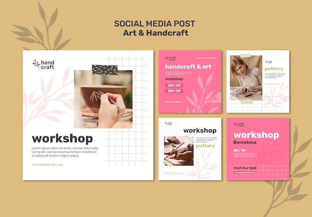 Kunst en handwerk posts op sociale media