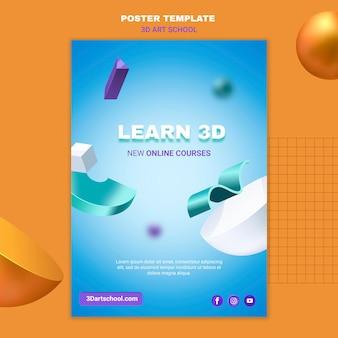 Kunstacademie leren 3d-poster sjabloon