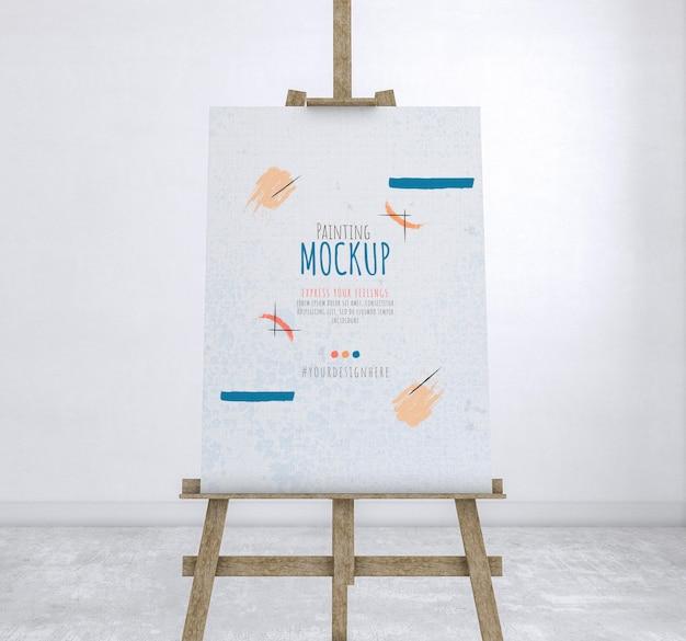 Kunstenaarskamer met schilderij mockup