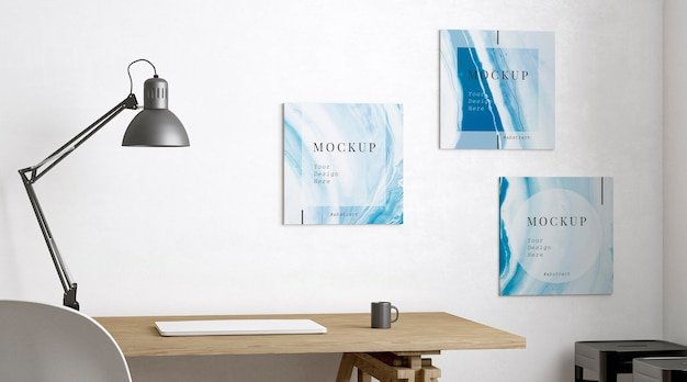 Kunstenaarskamer versierd met verschillende framemodellen