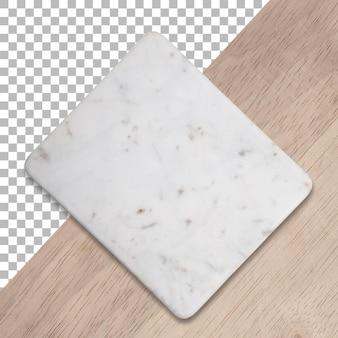 Kunststof snijplank met marmeren textuur geïsoleerd op houten transparante achtergrond.