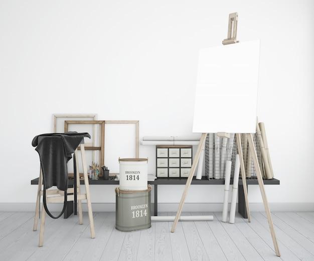 Kunststudio met canvas en schort