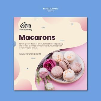 Kwadraat flyer met macarons