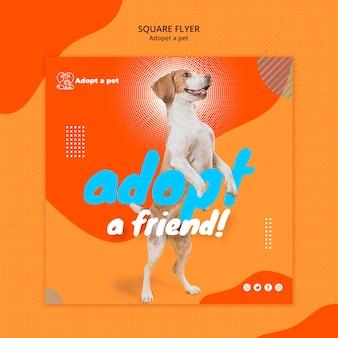 Kwadraat flyer sjabloon voor adoptie van huisdieren uit asiel