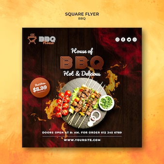 Kwadraat flyer sjabloon voor barbecue