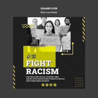Kwadraat flyer-sjabloon voor de bestrijding van racisme