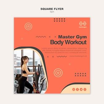 Kwadraat flyer sjabloon voor fitness in de sportschool