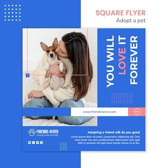 Kwadraat flyer sjabloon voor het adopteren van een huisdier met hond
