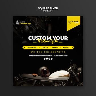 Kwadraat flyer sjabloon voor motorfiets reparatiewerkplaats