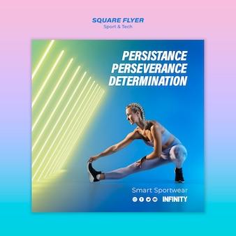 Kwadraat flyer sjabloon voor sport en lichaamsbeweging