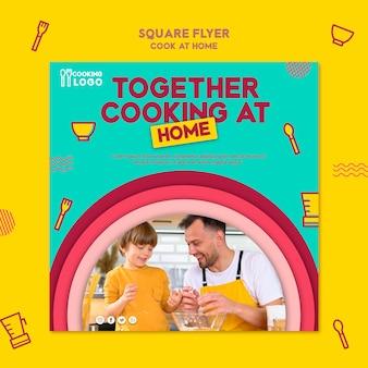 Kwadraat flyer sjabloon voor thuis koken
