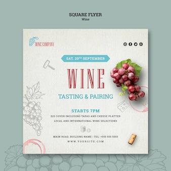 Kwadraat flyer sjabloon voor wijnproeven