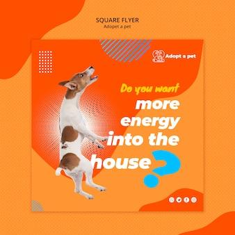 Kwadraat flyer voor adoptie van huisdieren uit opvang